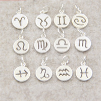 Wholesale silver pearl charms for sale - Group buy Sterling Silver Charm Constellations Round Card Small Pendant DIY Manual Bracelet Woman Wedding Favors For Guest Gift Ornaments jd bb