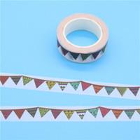 Wholesale scrapbooking washi tape - Wholesale- 2016 1 X Colour Flag Washi Tape Diy Decoration Scrapbooking Planner Masking Tape Adhesive Tape Kawaii Stationery Stickers