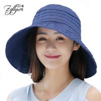 Wholesale Women Summer Anti Uv Hat - Zgllywr Women Summer Sun Hat Foldable Anti-UV Protection Waterproof Wide Brim Sun Visor