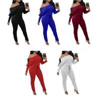Wholesale off shoulder casual jumpsuit resale online - 5 Colors Women s Long Sleeve Off Shoulder Bandage Jumpsuits Casual Club Rompers Elegant Bodycon Bodysuit Bandage Jumpsuits CCA8992