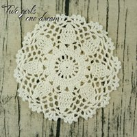 Wholesale Vintage Crochet Table Mats - Vintage 16cm Round Cotton Coaster Hand Crochet Doilies Wedding Event Table Decor Doily Placemat Knit Table Mats 30PCS LOT