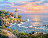 Wholesale Seaside Canvas - Diy diamond painting cross stitch kit rhinestone full round diamond embroidery landscape seaside Lighthouse home mosaic decoration yx4092