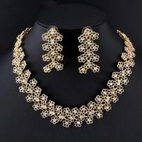 UK New Elegant Women's Imitation Crystal Jewelry Set Gold Color Necklace Long Pendant Earring Set For Royal Wedding Dress Accessory DHgate Mobile