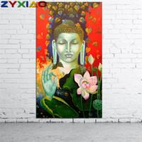 ingrosso arte pittura a olio di loto-ZYXIAO Big Size Pittura ad olio Arte religiosa Lotus Buddha Home Decor su tela Modern Wall Art Senza cornice Stampa Poster foto ys0062