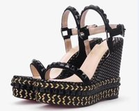 голубые летние сандалии оптовых-Женская Pyraclou 11см клинья сандалии обувь, поперечно-полосатые пирамидки, женские тапочки, женская кожаная обувь, размер 35-40, бесплатная доставка