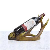 vintage bottle holder 2018 - Creative Artificial Antlers Wines Rack Wedding Decoration Resin Wine Bottle Holder Vintage Style Luxury Stands For Unique Gift 30yh ZZ