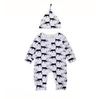 84b36a708615 Baby deer printing onesie 2pc set hat+long sleeve romper infants cute elk pattern  romper outfits for 0-1T