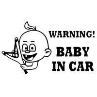 ingrosso adesivo di avvertimento parabrezza-18,7 * 10,8 cm Attenzione! Baby In Car Adesivo auto decalcomania Auto divertente Parabrezza posteriore Accessori