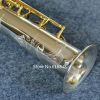 tüp anahtarı toptan satış-Yeni Varış Zarif Oyma YANAGISAWA S-9030 Soprano B (B) Saksafon Gümüş Kaplama Tüp Altın Kaplama Anahtar Profesyonel Pirinç Sax