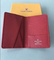 monedero mini organizador al por mayor-Excelente Calidad Organizador de Bolsillo NM damier rojo hombres y mujeres de cuero Real carteras pasaporte titular de la tarjeta N63144 bolso monedero identificación bolsas bifold