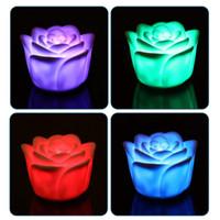 nachtlichtfarben großhandel-Ändern von 7 Farben Rose Flower LED-Licht Nachtkerzenlichtlampe Romantisch