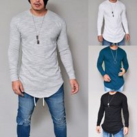 Wholesale Tights Long Sleeve Tees - Men's Fashion Round Neck Semi-tight Long Sleeve Cotton Frayed T-shirt Tees Plus Size S--3XL