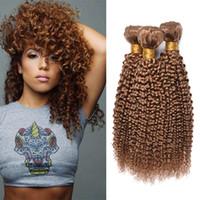 renkli bakire brezilya kılı toptan satış-Brezilyalı Bal Sarışın Kinky Kıvırcık İnsan Saç 3 Demetleri Renkli Brezilyalı 27 # Sarışın Kıvırcık Virgin İnsan Saç Dokuma Uzantıları