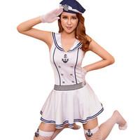 cosplay için sıcak elbiseler toptan satış-Sıcak satış yüksek kalite seksi iç çamaşırı cosplay denizci beyaz mavi babydoll elbise günaha kostüm rol oynamak seksi üniforma