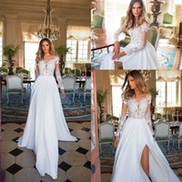 Wholesale Nova Long Sleeve - Milla Nova New Sexy Beach Summer Wedding Dresses Chiffon Lace Cheap Sheer Neck Long Illusion Sleeves Floor Length Bohemian Wedding Gowns