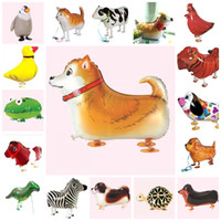 Wholesale duck back - Popular Walking Pet Airballoon Aluminum Foil Air Balloon Animal Tiger Penguin Cow Duck Shape Helium Balloons Wedding Decorations 2 16hl B