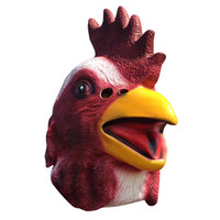Wholesale Rooster Chicken Costume - 1pc Animal Full Face Rooster Mask Halloween Prop Carnival Latex Rubber Chicken Head Masks Costumes Fancy Dress Party Supplies