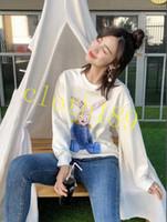 милые животные свитера оптовых-2018 мода осень роскошная одежда мужские свитера высокого качества граффити милые ушастые животные кролик толстовки толстовка дизайнер капюшон