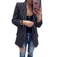 uzun siyah takım elbise ceket kadınlar toptan satış-Moda Çizgili Blazer Siyah Beyaz Seksi Rahat Takım Elbise Uzun Kollu Kadın Ceket kadın blazer Kadın Kadınsı Blazers Sonbahar z1