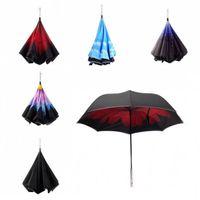 Wholesale led umbrella rain - New LED Inverted Umbrella Travel Folding Cars Warning Flashlight Rain Emergency SOS LED Umbrella Inverted 6 Colors