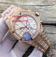ouro k8 venda por atacado-4 estilo de alta qualidade relógio K8 42MM 26322OR.ZZ.1222OR.02 VK Quartzo Dial Branco 18K Rose Gold DATE diamante inlay Chronograph Mens Watch Watches