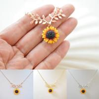 halskette zweig großhandel-Neue Mode Sonnenblume Blatt Zweig Charme Anhänger Halskette Schmuck Pullover Halskette Halsband für Geschenke Mädchen