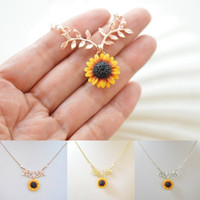 Wholesale sunflower necklace pendant for sale - Group buy New Fashion Sunflower Leaf Branch Charm Pendant Necklace Jewelry Sweater Necklace Choker for Gifts Girls