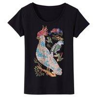 mulheres frisadas camiseta venda por atacado-2018 Verão Camiseta Mulheres frisado diamante papagaio impressão T-shirt Mulheres Tops Camiseta Femme Novo harajuku feminino T-shirt 3XL