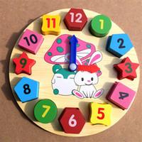 Wholesale Wooden Clock Puzzle - Cartoon Rabbit Clock Geometric Shape Matching Math Toys Children Intelligence Wooden Puzzle Educational Toys Digital Clock Hot Sale 6 3bm Z