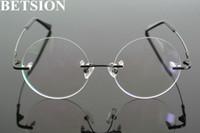 a71f973701 Vintage Round Memory Titanium Black Rimless Flexible Steve Jobs Eyeglass  Frames Myopia Men Women Glasses Spectacles Rx able