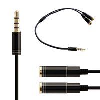 revestimiento de rca al por mayor-Cable Splitter estéreo 2 en 1 Línea de Audio Hembra a Macho Divisor de Audio de 3.5mm para Auriculares Micrófono MP3 MP4 Ipod