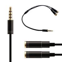 diviseur de câble rca achat en gros de-Stéréo Splitter Câble 2 en 1 Femelle à Mâle Audio Ligne 3.5mm Audio Splitter Pour Microphone Casque MP3 MP4 Ipod