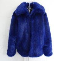 casaco de pele de homem venda por atacado-Casaco de pele do falso azul dos homens quente lapela tamanho grande s-5xl inverno outwear grosso