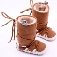 häkeln schneeschuhe großhandel-Baby Schuhe Kleinkind Mädchen Boy Warm Crochet Knit Fleece Boot Schnee Krippe Schuhe Winter Boot Infant Boots