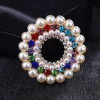 Wholesale wholesale ties china online - Rhinestone Pearl Pins Brooches Ladies Dresses Suit Tie Decoration Accessories Clothes Clip Women s Girls Imitation Pearls Top Crystal Brooch