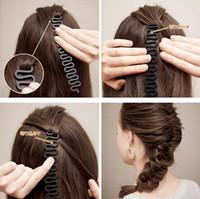 gancho mágico al por mayor-Envío gratis Hairband accesorios herramienta de diseño Herramienta de Trenzado Del Pelo Rodillo Con Gancho Magic Hair Twist Styling Bollo fabricante elástico elástico