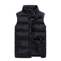 gepolsterte puffer großhandel-6XL Plus Größe Sleeveless Jacke Weste Männer 2018 Neue Solid Frauen Puffer Weste Cotton-Padded Wintermantel Casual Male Vest Zipper