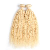ingrosso tessuto reale dei capelli umani ricci-200g 100% reale Ricci Tessuto Dei Capelli Umani 8-26 Pollice Tessuto Brasiliano Fasci Capelli Candeggina Bionda Estensioni Dei Capelli Remy 2 Pezzo