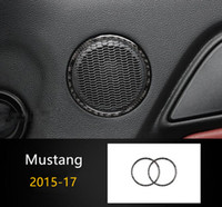 Wholesale ford trim - Carbon Fiber Car Door Audio Speaker Ring Interior Decor 2pcs For Ford Mustang 2015-17 Car Styling Stereo Cover Trim