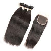 dalga saç india toptan satış-Brezilyalı İnsan Saç Demetleri ile Dantel Kapatma Düz Vücut Dalga Demetleri ile Frontal Brezilyalı Perulu Hindistan Malezya Virgin İnsan Saç