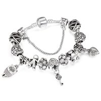 chico chica encanto de plata al por mayor-Romantic Silver Color Charm Bracelet Boys Girls Key Beads Fit Snake Chain Brand Pulsera Para Las Mujeres Joyería Dropshipping