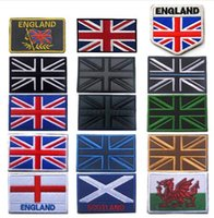 Wholesale flags badges - United Kingdom England Scotland Wales Flag Embroidery Patch Great Britain Flags Tactical UK Badges Embroidered Patches