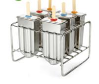 metal cubo de gelo venda por atacado-Lolly molde moldes de picolé moldes de aço inoxidável 6cells congelados cubo de gelo moldes fabricante de picolé diy sorvete ferramentas de cozinha ferramentas