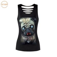 Wholesale Sexy Zombie - ISTider 2018 New Summer Tops 3D Zombie Dog Pug Printing Hollow Out Black Sleevesless Tank Top Women Harajuku Sexy Tank Tops