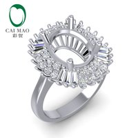 Wholesale white gold semi mount oval resale online - Caimao x10mm Oval Cut k White Gold ct Baguette Round cut Diamond Prong Wedding Semi Mount Ring S923