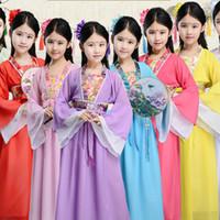 traje chino para niñas niños al por mayor-trajes de danza tradicional china danza trajes antiguos ópera tang dinastía han ming niño hanfu vestido ropa niña niños niños