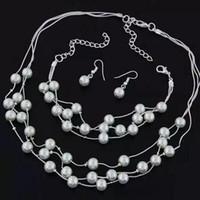 ensembles de bijoux de perles indiennes achat en gros de-Doux OL Élégant Parures De Bijoux Perle Collier Boucle D'oreille Bracelet Or Argent Bijoux Ensemble Pour Femmes Indien Brincos Boucle D'oreille Cadeau J27