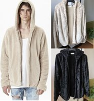 Wholesale Men S Cashmere Cardigan Sweaters - Hot Mens Cashmere Sweater Fear Of God Fur Hoodies Sweatshirts Autumn Winter Casual Hooded Sports Jacket Streetwear Mens Hoodies