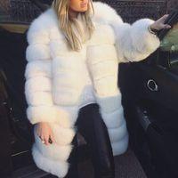 mujer peluda al por mayor-Moda de invierno de las mujeres de piel sintética abrigo peludo blanco grueso cálido de piel de manga larga del o-cuello de la chaqueta prendas de abrigo abrigo más el tamaño 3X 6Q2398