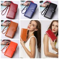 Wholesale Leather Clutch Purse Strap - Women Long Wallets pu Leather Clutch Wallet Women's Coin Purse Ladies Clutch Money With Card Holder Strap Coin Purse KKA4103